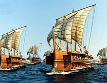 Triremes under sail