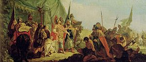 Porus surrendering to Alexander