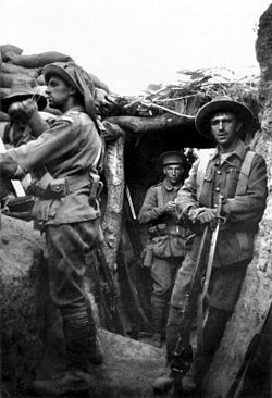 Aussies in a captured Turkish trench