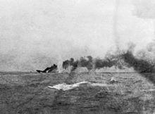 HMS Indefatigable sinks after exploding