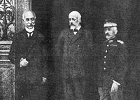 The Triumvirate: Admiral Kountouriotis, Eleftherios Venizelos, and General Danglis.